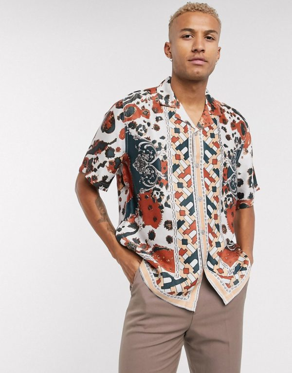 ASOS EDITION geometric print shirt in border print-Red