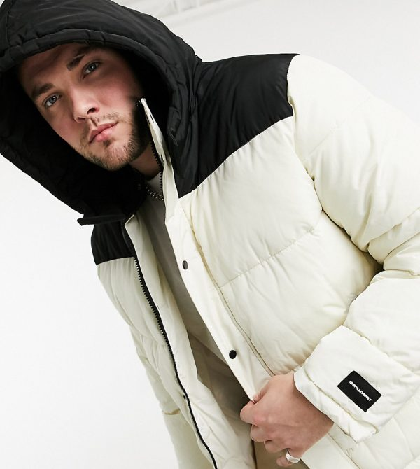 ASOS Plus Unrvlld Supply puffer jacket with color block panel in ecru-Cream