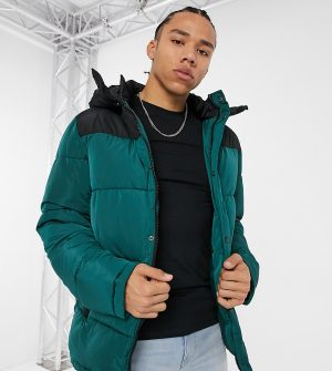ASOS Tall Unrvlld Supply puffer jacket with color-block panel in green