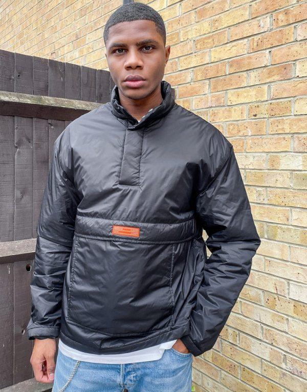 ASOS Unrvlld Spply overhead padded jacket in black