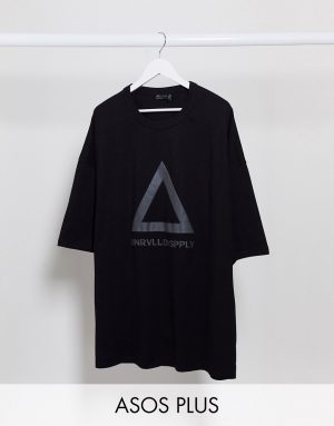 ASOS Unrvlld Supply Plus oversized longline t-shirt with reflective Logo in heavyweight jersey-Black