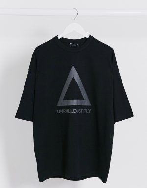 ASOS Unrvlld Supply oversized longline t-shirt with large reflective logo in heavyweight jersey-Black