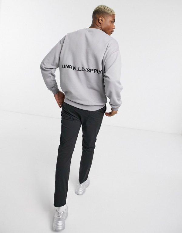 ASOS Unrvlld Supply oversized sweatshirt with text print in gray