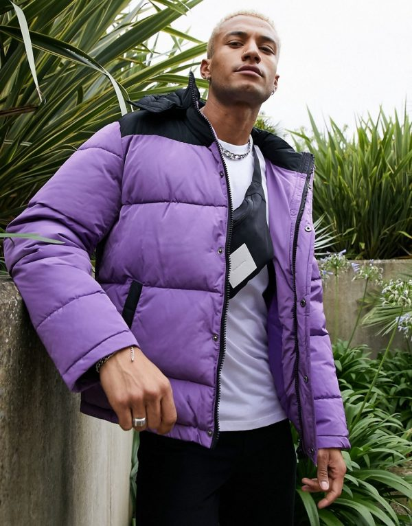 ASOS Unrvlld Supply puffer jacket with color block panel in purple