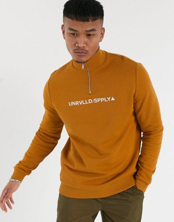 ASOS Urvlld Supply half zip sweatshirt in brown with print