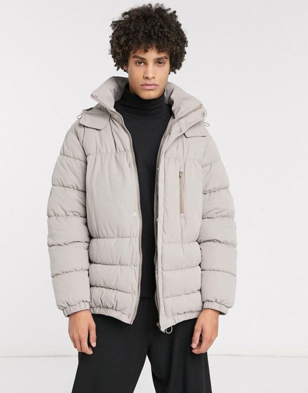 ASOS WHITE boxy puffer jacket in gray with concealed hood