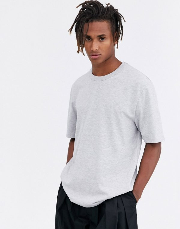 ASOS WHITE loose fit heavyweight t-shirt in light gray marl
