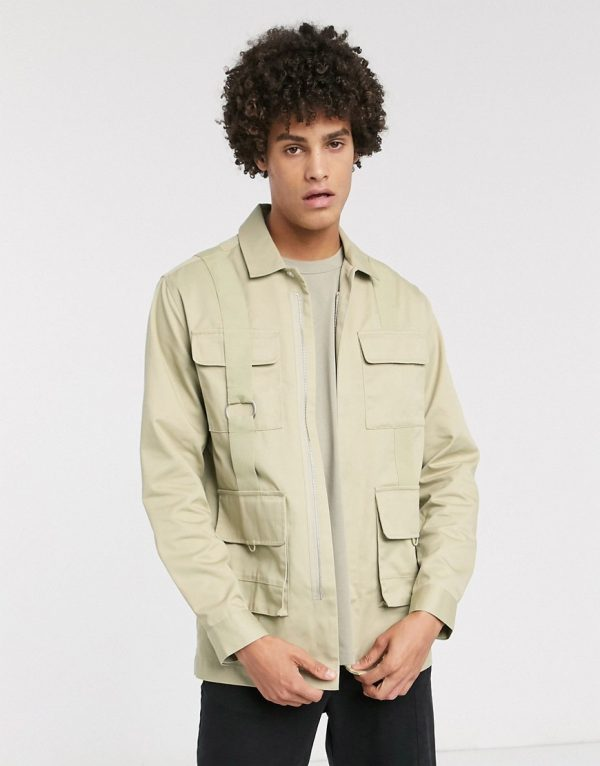 ASOS WHITE regular shirt with utility pockets-Beige