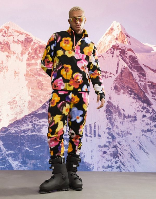 ASOS fleece sweatpants with floral print-Multi