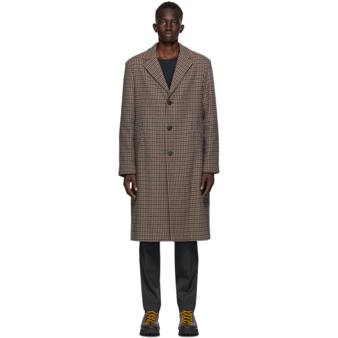Acne Studios Burgundy and Blue Wool Coat | The Fashionisto