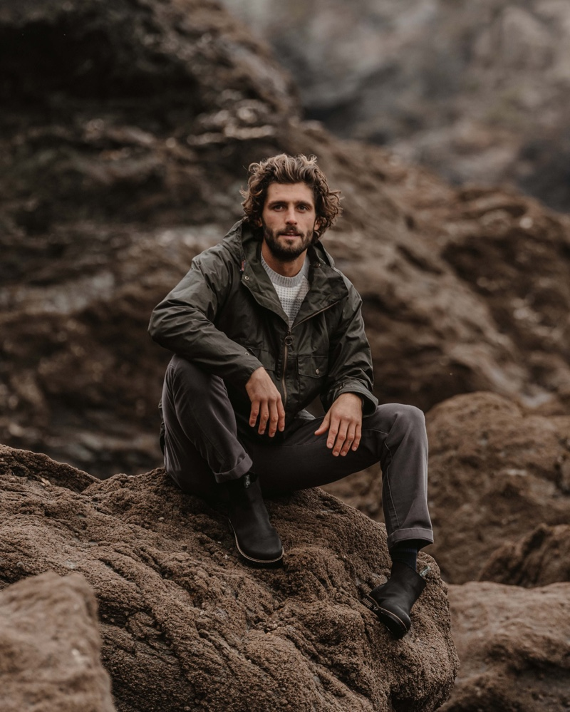 Front and center, Alex Libby embraces practical style from Barbour's fall-winter 2020 collection.
