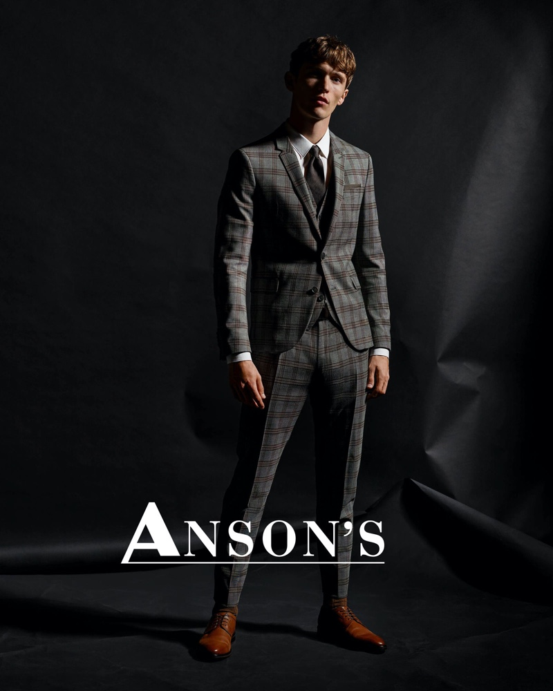 Model Christoffer Barsø suits up for Anson's fall-winter 2020 campaign.