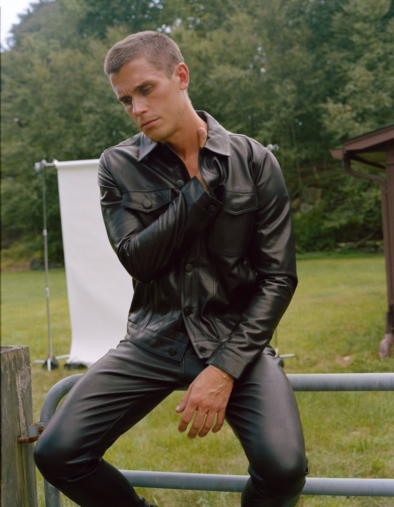 Making a modern statement, Antoni Porowski wears The Leather Trucker jacket with The Modern Skinny leather pants from his J Brand collection.