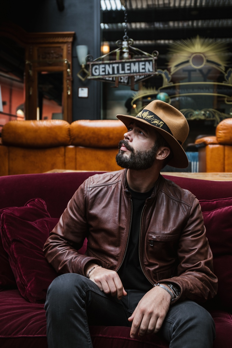 Model Simone Coriddi wears Borsalino's newest hat, the Bogart by Borsalino Cut 5.