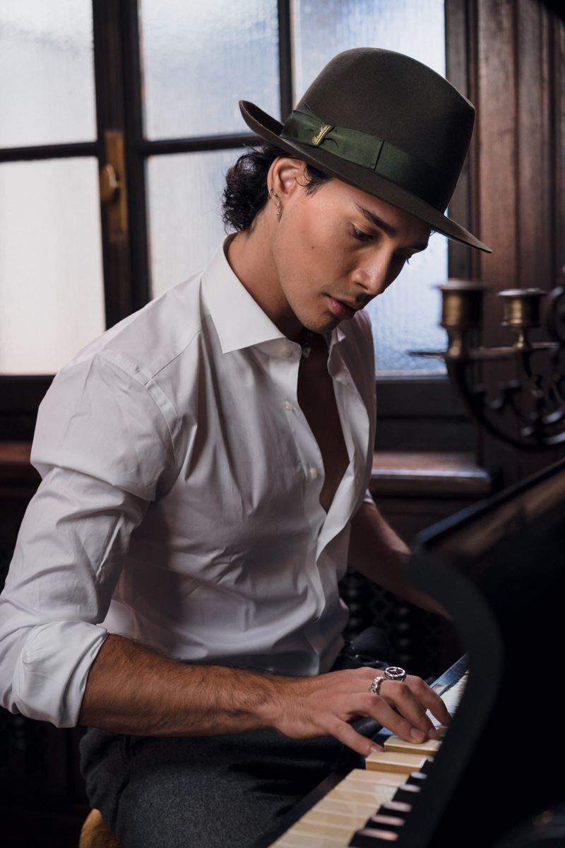 Borsalino enlists model Andrea Rodriguez Mianulli to star in its fall-winter 2020 campaign.
