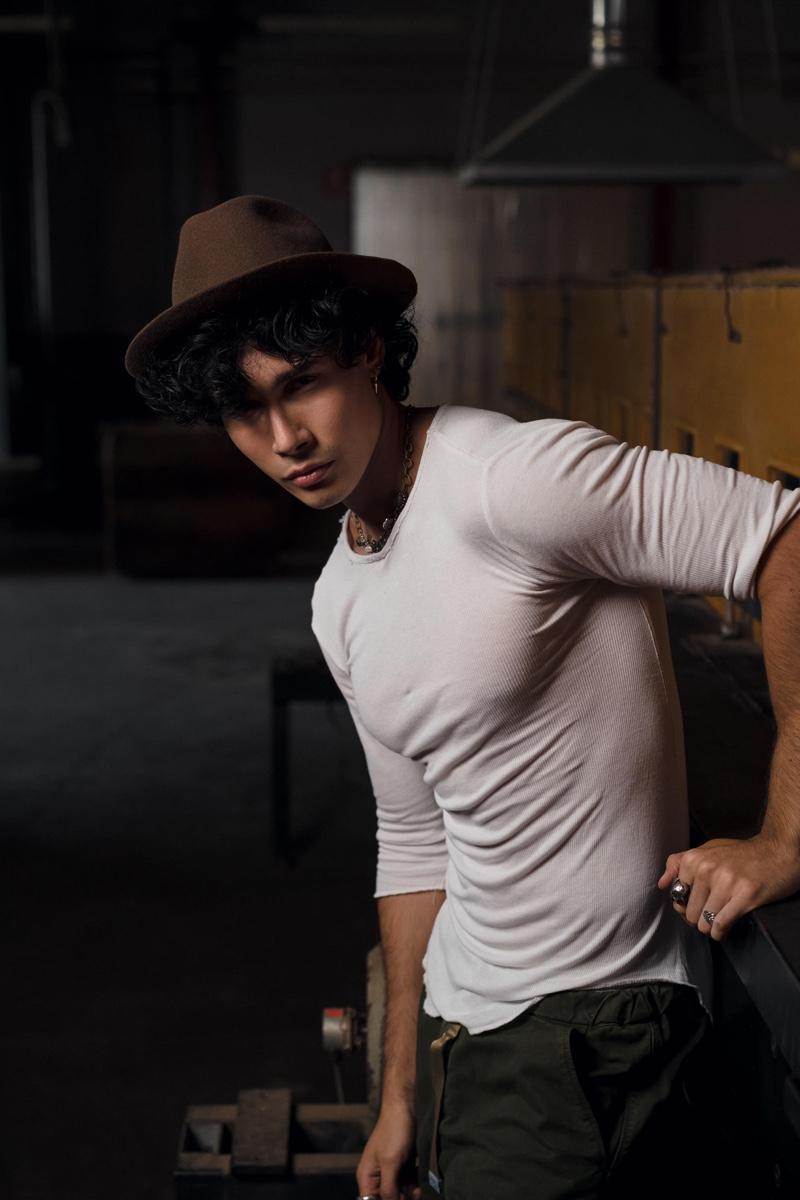 Andrea Rodriguez Mianulli stars in Borsalino's fall-winter 2020 campaign.