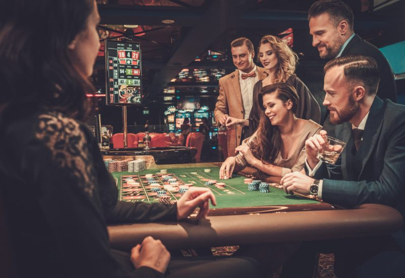 Casino Table with People