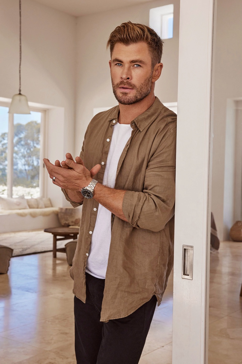 Actor Chris Hemsworth dons TAG Heuer's Carrera Sport Chronograph watch for a new campaign.