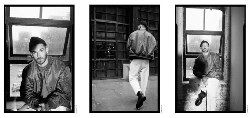 Sporting a bomber jacket from Zara Man, David Alexander Flinn showcases casual fall style.