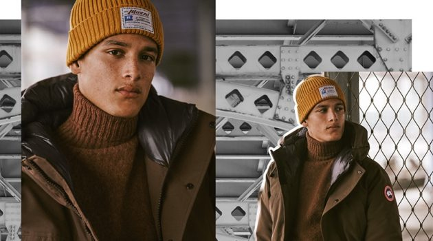 Bundling up for the cold, Marco Pickett wears a Canada Goose Sanford parka in military green.