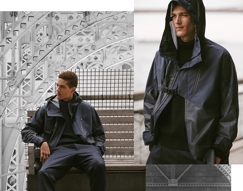 Making a modern style statement, Marco Pickett models a Y-3 Terrex parka in night grey.