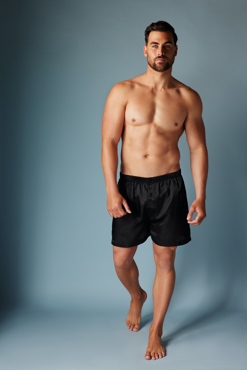 Frederick's of Hollywood enlists Marc Jacobs to model its satin men's boxers.