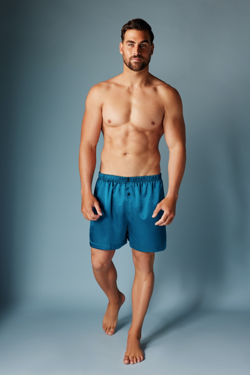 Donning Frederick's of Hollywood, Marc Jacobs wears its satin men's boxers.