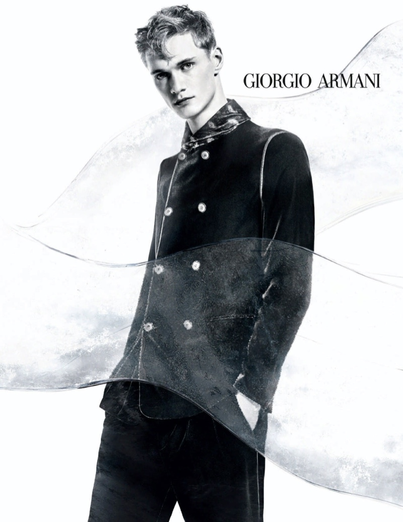 Felix Specht appears in Giorgio Armani's fall-winter 2020 campaign.