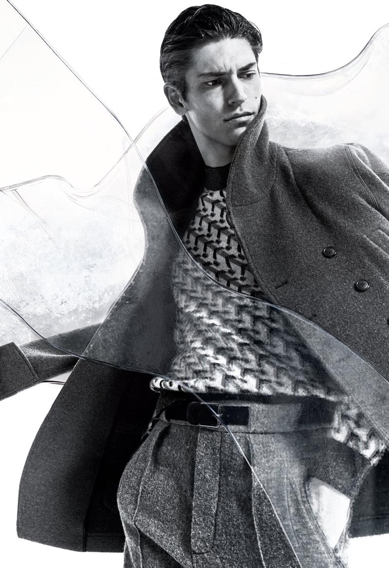 Justin Eric Martin fronts Giorgio Armani's fall-winter 2020 campaign.
