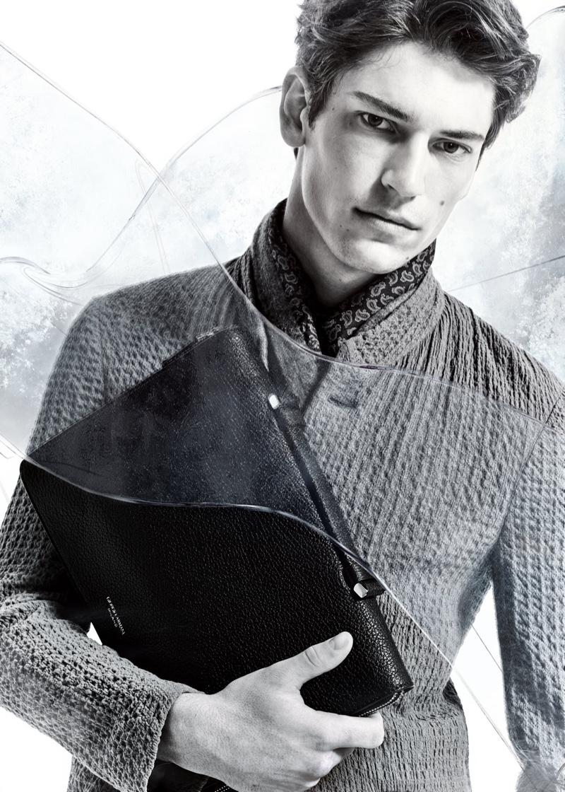 Model Justin Eric Martin stars in Giorgio Armani's fall-winter 2020 campaign.