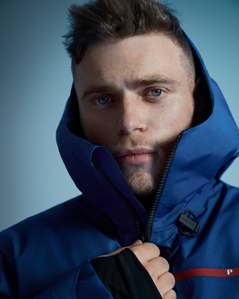 American freestyle skier Gus Kenworthy fronts Prada Linea Rossa's fall-winter 2020 campaign.