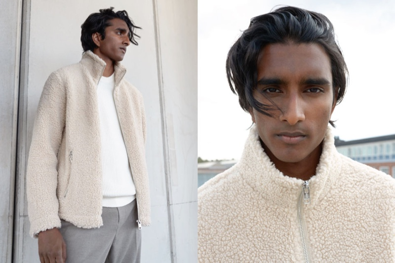 Jeenu Mahadevan dons a faux shearling jacket from H&M.