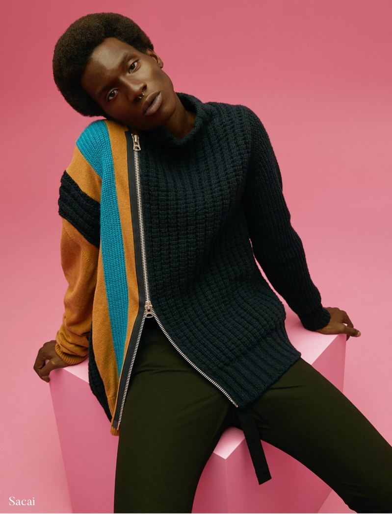 Adonis Bosso dons a knit sweater by Sacai for Holt Renfrew.
