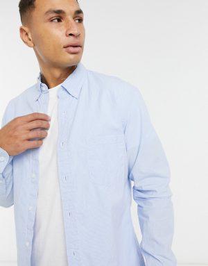 J Crew washed mini gingham long sleeve shirt-Blue