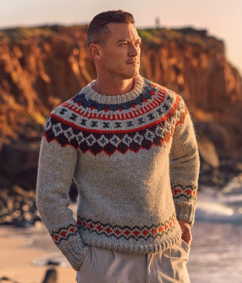 Linking up with Todd Snyder for the season, Luke Evans wears the brand's Canada fair isle sweater.