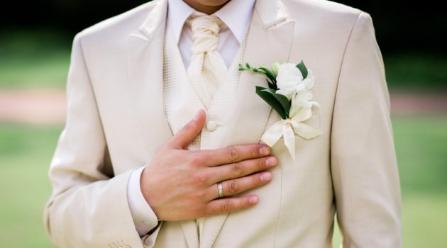 Man Groom Wedding Beige Suit Ring