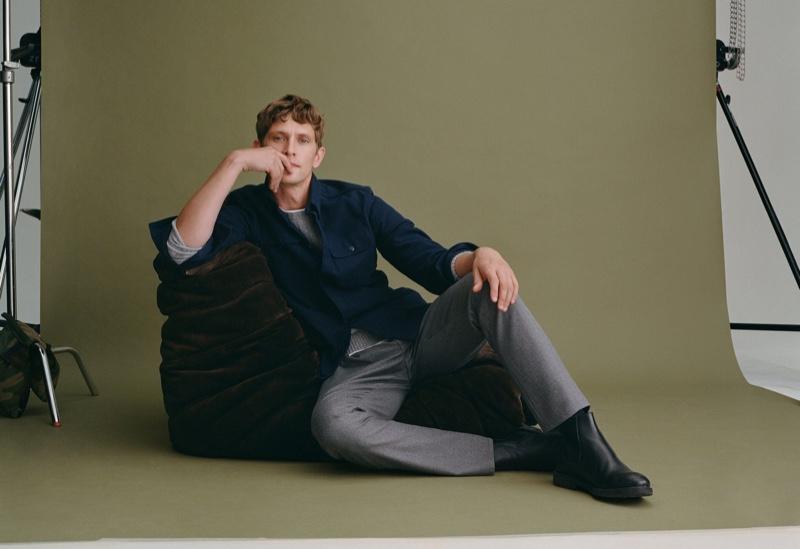 Taking to the studio, Mathias Lauridsen wears smart fall fashions from Mango.