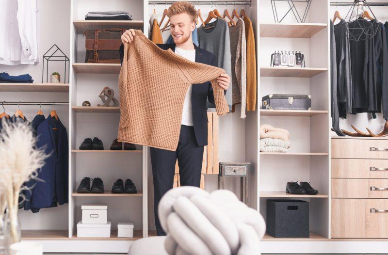 Mens Closet Looking at Sweater