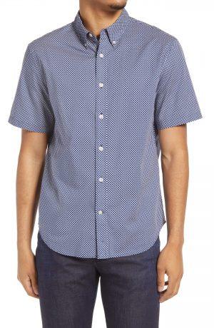 Men's Club Monaco Slim Fit Ditsy Eye Print Short Sleeve Button-Down Shirt, Size X-Small - Blue