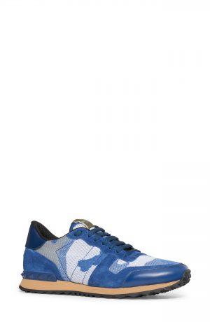 Men's Valentino Garavani Camo Rockrunner Sneaker, Size 7US - Blue