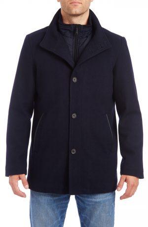 Men's Vince Camuto Short Wool Blend Car Coat, Size Small - Blue
