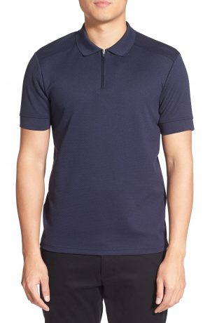 Men's Vince Camuto Slim Fit Mesh Polo, Size Medium - Blue