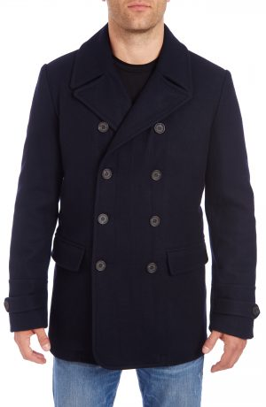 Men's Vince Camuto Water Resistant Wool Blend Peacoat, Size Small - Blue