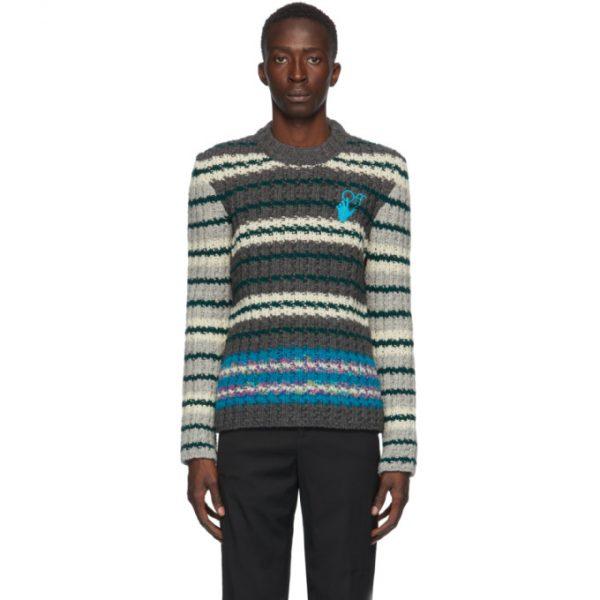 Off-White Grey Wool Hand Crewneck Sweater