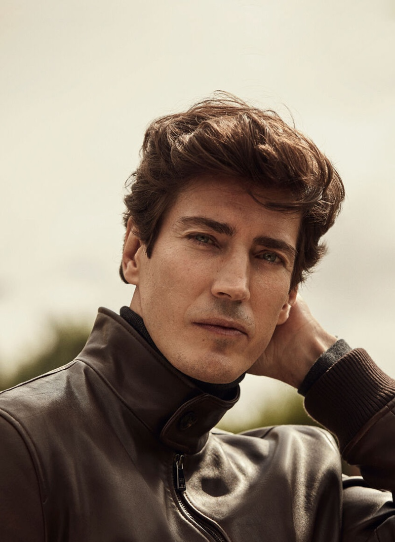 Oriol Elcacho sports a nappa leather jacket from Pedro del Hierro.