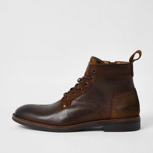 River Island Mens Brown leather lace up chukka boots
