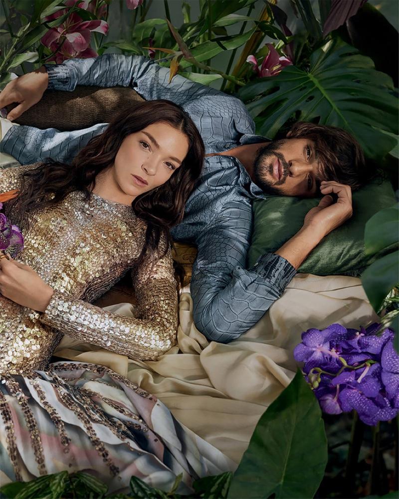 Mariacarla Boscono and Marlon Teixeira appear in Roberto Cavalli's Paradise Found fragrance campaign.