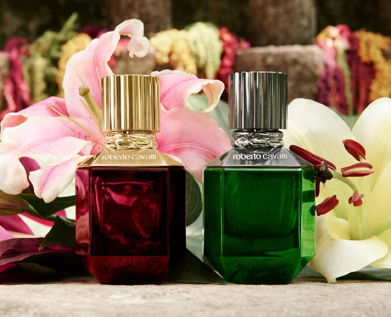 Roberto Cavalli Paradise Found fragrances for him and her.