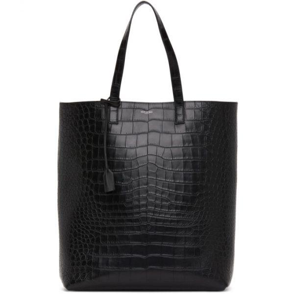 Saint Laurent Black Croc Shopping Bag