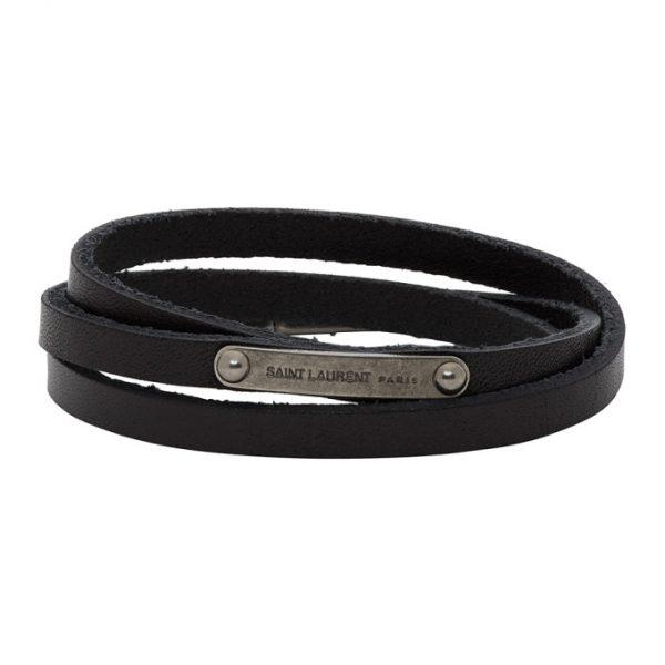 Saint Laurent Black Narrow Multi-Wrap ID Bracelet